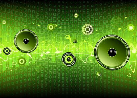 color mixing: Vector illustration of green abstract party design with urban music scene - Speakers and sound waves