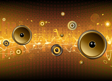 Vector illustration of shiny abstract party design with urban music scene - Speakers and sound waves Vector