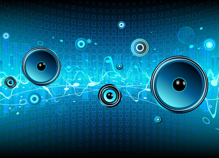 Vector illustration of blue abstract party design with urban music scene - Speakers and sound waves Vector