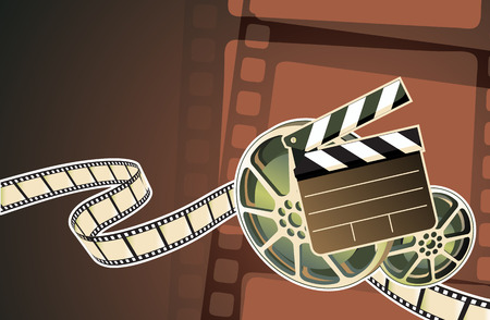 Vector illustration of abstract background with film, clapperboard and a film reel Stock Vector - 5467656