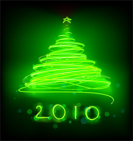 Vector illustration of Abstract green Christmas tree on the black background. 2010. Vector