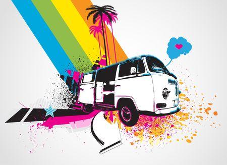 style Decorative urban background with funny retro bus photo
