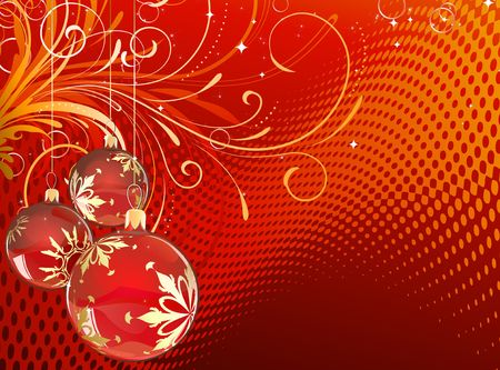 illustration of red Holiday card with christmas balls on floral Decorative background Stock Illustration - 5554057
