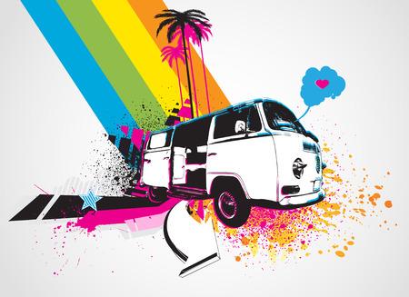 figli dei fiori: Illustrazione vettoriale di stile decorativo sfondo urbano con divertenti bus retr�