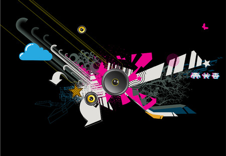 Vector illustration of abstract party design with urban music scene  Vector