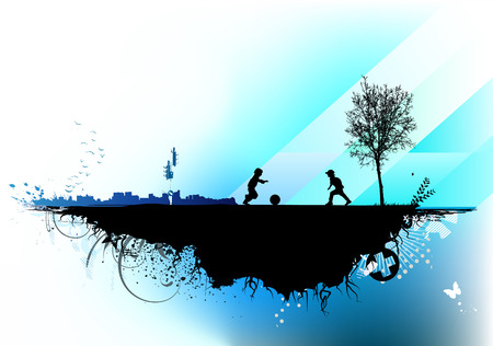 Vector illustration of style urban background with two children playing football Vector
