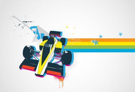 illustration of style Decorative urban background with funny retro sport car Stock Illustration - 5554640