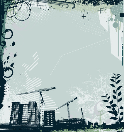 Vector illustration of style background with grunge stained urban and floral Design elements