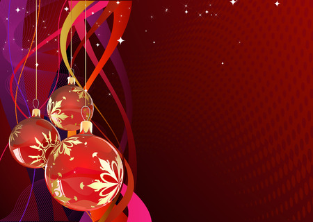 Vector illustration of red Holiday card with christmas balls on the abstract lines background Vector