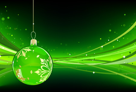 Vector illustration of green Holiday card with christmas balls on the abstract lines background Stock Vector - 5567136