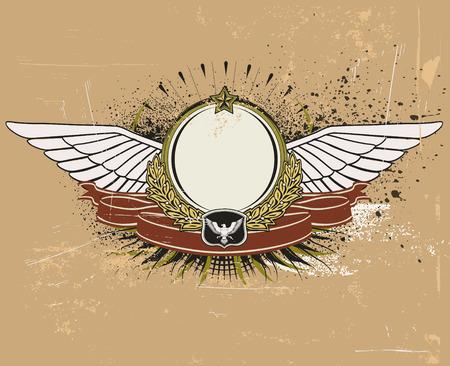 hawks: Illustrazione vettoriale di Scudo araldico alato o distintivo con banner, perfetto per voi inserire il tuo testo