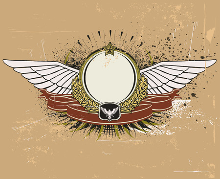 Vector illustration of winged heraldic shield or badge with banner, perfect for you to place your text Vector