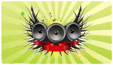 illustration of shiny abstract party design with speakers,  ribbon and floral elements Stock Illustration - 5613556