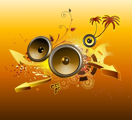illustration of grunge Background with music design elements ,palmtrees and arrows illustration