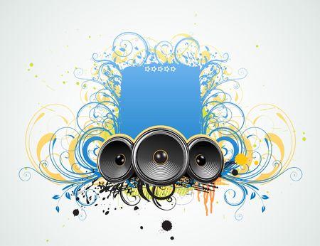 illustration of funky Grunge Decorative music frame Stock Illustration - 5629979