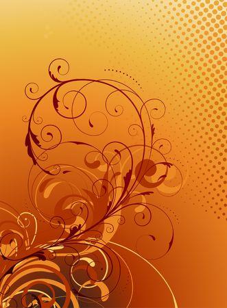 frizzy:  illustration of orange Floral Decorative background