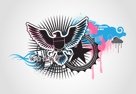 Vector illustration of style Decorative urban background with coat-of-arms  Medieval Eagle Vector