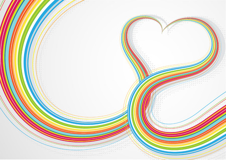 candid: Vector illustrator of Colorful lines crossing each other on heart shape Illustration