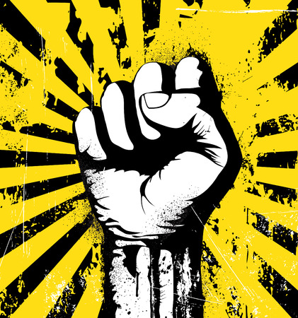protest: Vector illustration of clenched fist held high in protest on the yellow grunge urban background