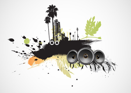 Vector illustration of styled musical urban background Stock Vector - 5635490