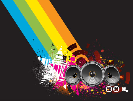 Vector illustration of grunge Background with an Explosion of Colors with music design elements Illustration