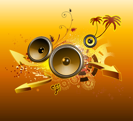 fiestas electronicas: Vector ilustración de fondo del grunge con elementos de diseño de la música, palmeras y flechas,