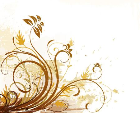 candid: Vector illustration of Grunge Floral Background
