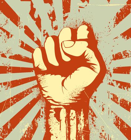 pu�os: Ilustraci�n vectorial de pu�o cerrado bien alta en se�al de protesta en el fondo urbano de grunge rojo Vectores