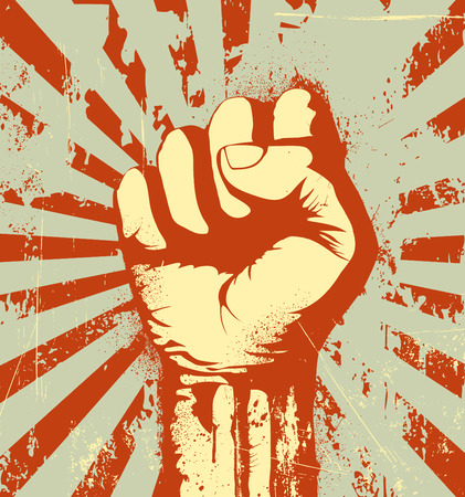 Vector illustration of clenched fist held high in protest on the red grunge urban background Illustration
