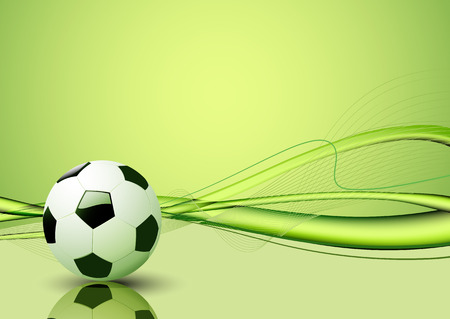 fun grass: Vector illustration of green abstract lines background - composition of curved lines and soccer ball Illustration