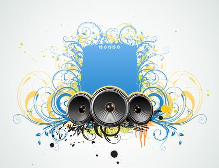 Vector illustration of funky Grunge Decorative music frame Stock Vector - 5669730