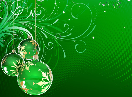 christmas scroll: Vector illustration of green Holiday card with christmas balls on the abstract floral background