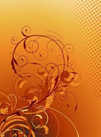 frizzy: Vector illustration of orange Floral Decorative background