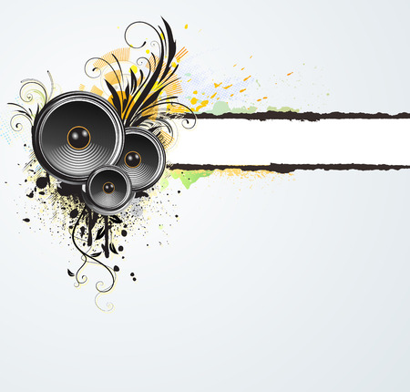 Vector illustration of grunge floral abstract  banner  with music design elements Vector