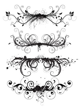 black swirl:  illustration of horizontal abstract Grunge design floral elements set Stock Photo