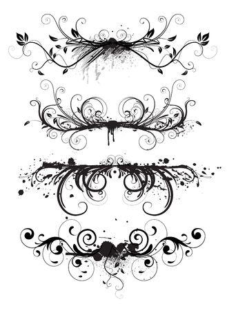 grunge leaf:  illustration of horizontal abstract Grunge design floral elements set Stock Photo