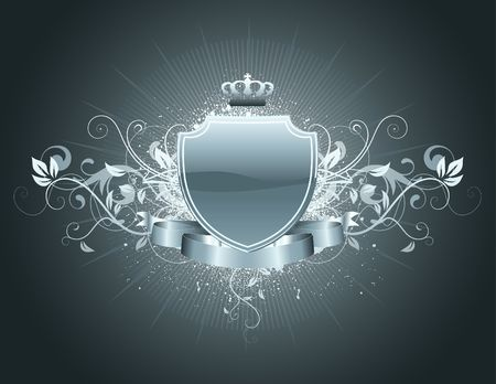 so:  heraldic shield or badge with banner, crown and floral elements . Blank, so you can add your own images or text