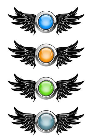 illustration of winged round buttons set Stock Illustration - 5704640