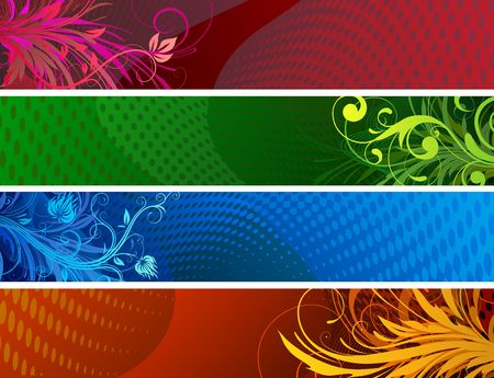 Vector illustration of Banners background. Colourful Abstract floral design set illustration