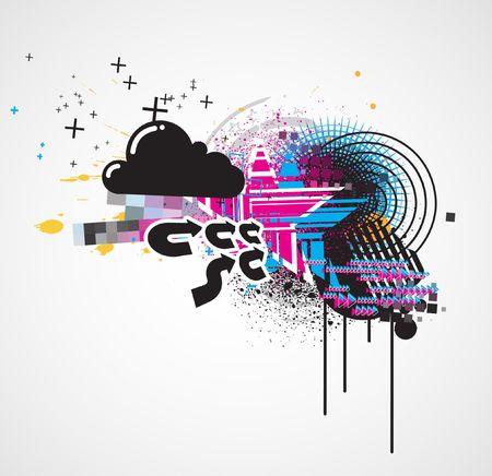 illustration of styled Decorative urban background illustration