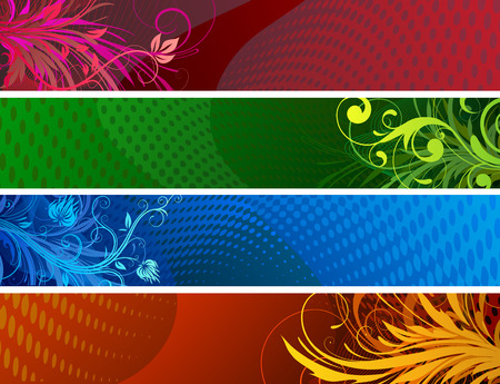 Vector illustration of Banners background. Colourful Abstract floral design set Vector