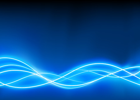resembling: A vector illustrated   futuristic background resembling blue motion blurred neon light curves