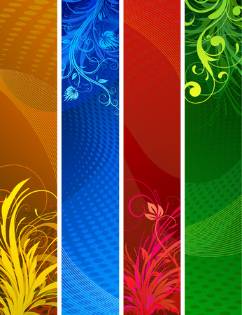 Vector illustration of Banners background. Colourful Abstract floral design set Stock Vector - 5745948