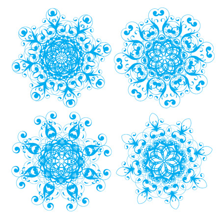 Vector illustration of abstract floral and ornamental elements set. Snowflakes and stars  for your Christmas design Vector