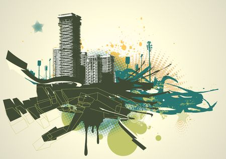 illustration of urban background with grunge stained Design elements  illustration