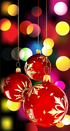 illustration of christmas balls on Decorative background with disco lights dots pattern Vector