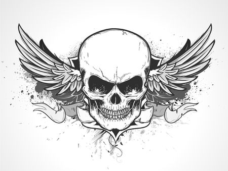 wings grunge: illustration of double winged human skull with banner and grunge background Stock Photo