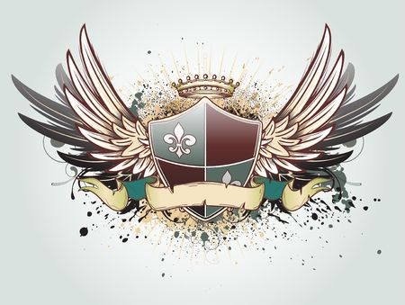 blazonry: illustration of heraldic shield or badge with crown, banner, grunge and floral elements  Stock Photo