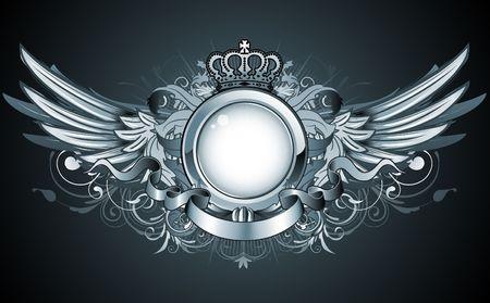 illustratie van de heraldische frame of badge met kroon, vleugels, banner en bloemen elementen  Stockfoto