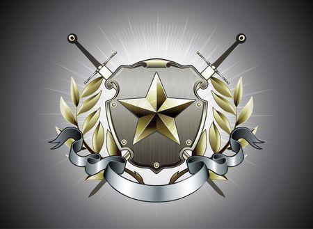 Illustration du Bouclier héraldique ou insigne avec des étoile de la forme, la Couronne de Laurier, la bannière et la deux épées